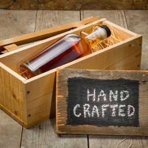 Hand crafted whisky bourbon rum bottle wooden gift package box